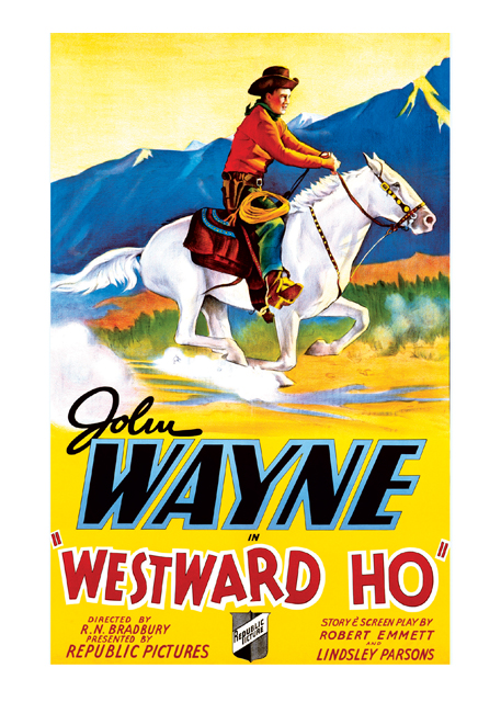 John Wayne: Westward Ho' John Wayne Westward Ho 1935.   These prints are made at our location in Seattle, WA. They have a thick, white backing board and are sealed in clear bags. Each is suitable for framing at 11 inches x 14 inches or can be used as is for wall display. Our goal is to bring back to life these wonderful illustrations from old-fashioned, children's books and from early advertising art.