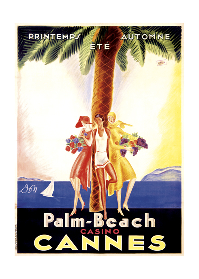 Palm Beach Casino Cannes | European Glamor Travel Art Prints These prints are made at our location in Seattle, WA. They have a thick, white backing board and are sealed in clear bags. Each is suitable for framing at 11 inches x 14 inches or can be used as is for wall display. Our goal is to bring back to life these wonderful illustrations from old-fashioned, children's books and from early advertising art.
