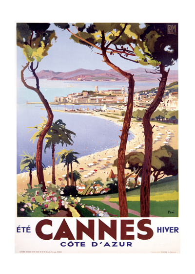 Cannes Cote d'Azur | European Glamor Travel Art Prints These prints are made at our location in Seattle, WA. They have a thick, white backing board and are sealed in clear bags. Each is suitable for framing at 11 inches x 14 inches or can be used as is for wall display. Our goal is to bring back to life these wonderful illustrations from old-fashioned, children's books and from early advertising art.