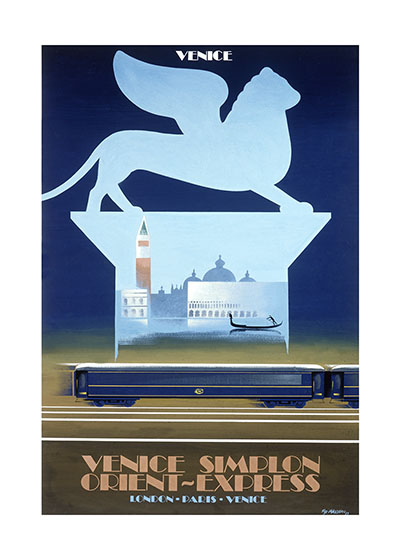 Venice Simplon Orient Express  BLANK INSIDE  Our blank notecards are custom printed at our location in Seattle, WA. They come bagged with an envelope. We love illustration art from old children's books and early, printed ephemera. These cards reflect this interest in bringing delightful art back to life