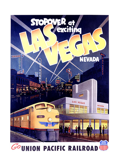 Exciting Las Vegas These prints are made at our location in Seattle, WA. They have a thick, white backing board and are sealed in clear bags. Each is suitable for framing at 11 inches x 14 inches or can be used as is for wall display. Our goal is to bring back to life these wonderful illustrations from old-fashioned, children's books and from early advertising art.