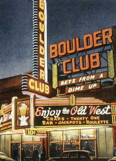 The Boulder Club - Las Vegas These prints are made at our location in Seattle, WA. They have a thick, white backing board and are sealed in clear bags. Each is suitable for framing at 11 inches x 14 inches or can be used as is for wall display. Our goal is to bring back to life these wonderful illustrations from old-fashioned, children's books and from early advertising art.