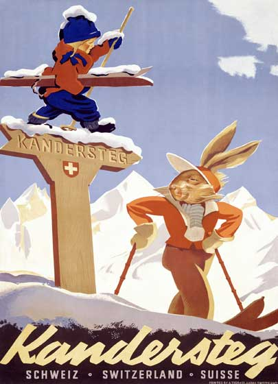 Rabbits Skiing in Switzerland | European Glamor Travel Art Prints These prints are made at our location in Seattle, WA. They have a thick, white backing board and are sealed in clear bags. Each is suitable for framing at 11 inches x 14 inches or can be used as is for wall display. Our goal is to bring back to life these wonderful illustrations from old-fashioned, children's books and from early advertising art.
