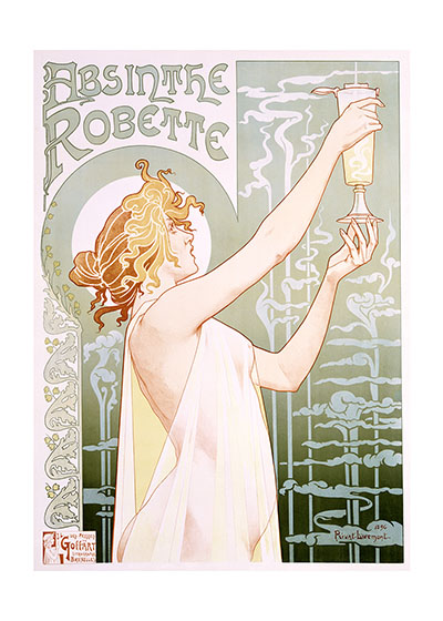 Absinthe Robette These prints are made at our location in Seattle, WA. They have a thick, white backing board and are sealed in clear bags. Each is suitable for framing at 11 inches x 14 inches or can be used as is for wall display. Our goal is to bring back to life these wonderful illustrations from old-fashioned, children's books and from early advertising art.