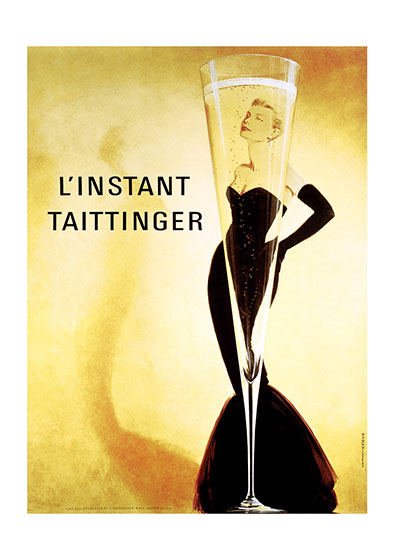 L'Instant Taittinger  BLANK INSIDE  Our blank notecards are custom printed at our location in Seattle, WA. They come bagged with an envelope. We love illustration art from old children's books and early, printed ephemera. These cards reflect this interest in bringing delightful art back to life