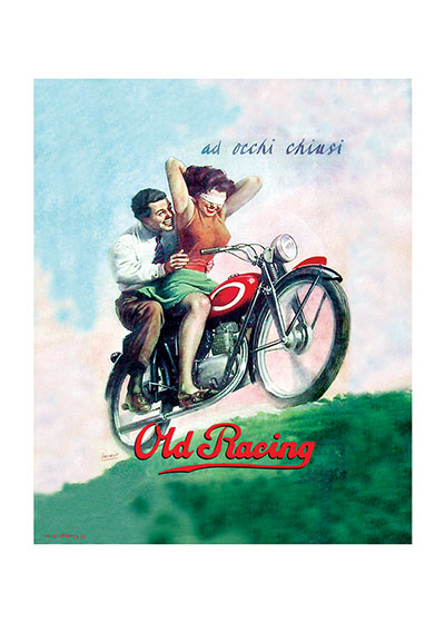Italian Motorcycle Poster  BLANK INSIDE  Our blank notecards are custom printed at our location in Seattle, WA. They come bagged with an envelope. We love illustration art from old children's books and early, printed ephemera. These cards reflect this interest in bringing delightful art back to life