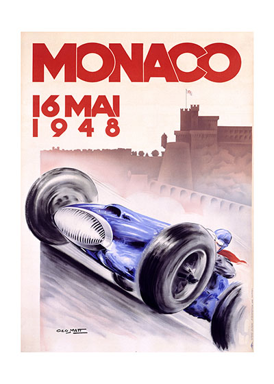 Monaco Grand Prix 1948  BLANK INSIDE  Our blank notecards are custom printed at our location in Seattle, WA. They come bagged with an envelope. We love illustration art from old children's books and early, printed ephemera. These cards reflect this interest in bringing delightful art back to life