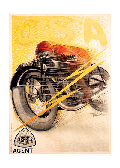 French Motorcyle Poster | By Land Transportation Art Prints These prints are made at our location in Seattle, WA. They have a thick, white backing board and are sealed in clear bags. Each is suitable for framing at 11 inches x 14 inches or can be used as is for wall display. Our goal is to bring back to life these wonderful illustrations from old-fashioned, children's books and from early advertising art.
