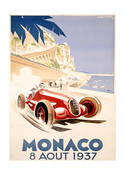 Monaco Grand Prix 1937 These prints are made at our location in Seattle, WA. They have a thick, white backing board and are sealed in clear bags. Each is suitable for framing at 11 inches x 14 inches or can be used as is for wall display. Our goal is to bring back to life these wonderful illustrations from old-fashioned, children's books and from early advertising art.