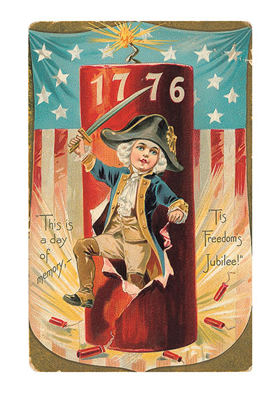 """Boy George Washington Greeting Card   Classic 4th of July Greeting Cards """"Our blank notecards are custom printed at our location in Seattle, WA. They come bagged with an envelope. We love illustration art from old children's books and early, printed ephemera. These cards reflect this interest in bringing delightful art back to life."""""""