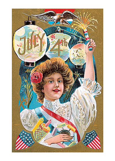 Woman With Sparkler  BLANK INSIDE  Our blank notecards are custom printed at our location in Seattle, WA. They come bagged with an envelope. We love illustration art from old children's books and early, printed ephemera. These cards reflect this interest in bringing delightful art back to life.
