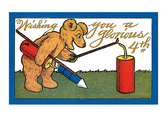 Bear With Fireworks  Our blank notecards are custom printed at our location in Seattle, WA. They come bagged with an envelope. We love illustration art from old children's books and early, printed ephemera. These cards reflect this interest in bringing delightful art back to life.