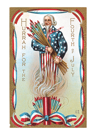 Uncle Sam w/ Fireworks   OUTSIDE GREETING: Hurrah for the Fourth of July  BLANK INSIDE  This image hails from the golden age of the picture postcard, the early 20th century, when as many as a billion postcards were mailed per year. Postcard printers competed to produce cards for every holiday, and Independence Day was no exception. This particular postcard features Uncle Sam holding a glorious array of fireworks.