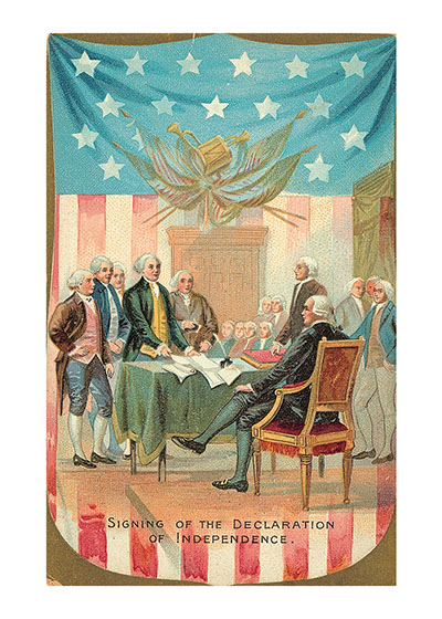 Signing the Declaration of Independence  Our blank notecards are custom printed at our location in Seattle, WA. They come bagged with an envelope. We love illustration art from old children's books and early, printed ephemera. These cards reflect this interest in bringing delightful art back to life.
