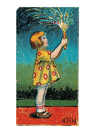 Girl With Sparkler  Our blank notecards are custom printed at our location in Seattle, WA. They come bagged with an envelope. We love illustration art from old children's books and early, printed ephemera. These cards reflect this interest in bringing delightful art back to life.