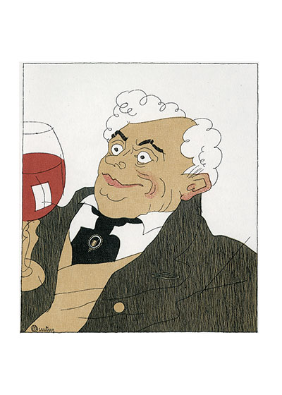 The Connoisseur Reproduced from a book first published in France in 1927, Monseigneur le Vin.  The illustrator is Charles Martin (1884-1934).  He was a prolific designer and illustrator, producing more than 20 books.  His style her is a most sophisticated version of the cartoon, and captures wine connoisseurship with humor and truth.  Our blank notecards are custom printed at our location in Seattle, WA. They come bagged with an envelope. We love illustration art from old children's books and early, printed ephemera. These cards reflect this interest in bringing delightful art back to life.