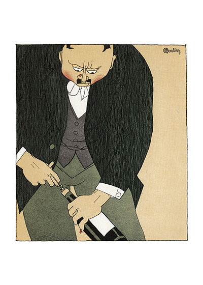 Remove the Cork Slowly!   Charles Martin (1884-1934) made these illustrations in 1927 for a book entitled {Monseigneur le Vin}.  He was a prolific designer and illustrator, producing more than 20 books.  His style here is a most sophisticated version of the cartoon, and captures wine connoisseurship with humor and truth.  Our prints are created by a process called, Giclee(a French word for spray').  The inks used in this process have a much higher resistance to fading than lithographic printing inks, which makes this kind of printing particularly suitable for prints being used in wall decor.    These prints are made at our location in Seattle, WA. They have a thick, white backing board and are sealed in clear bags. Each is suitable for framing at 11 inches x 14 inches or can be used as is for wall display. Our goal is to bring back to life these wonderful illustrations from old-fashioned, children's books and from early advertising art.