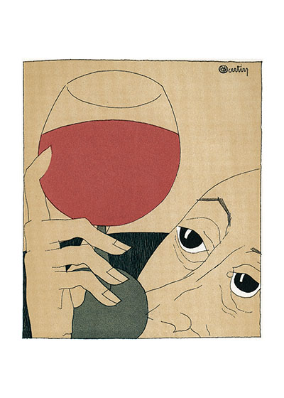 A Pleasure to the Eyes  Reproduced from a book first published in France in 1927, Monseigneur le Vin.  The illustrator is Charles Martin (1884-1934).  He was a prolific designer and illustrator, producing more than 20 books.  His style her is a most sophisticated version of the cartoon, and captures wine connoisseurship with humor and truth.  Our blank notecards are custom printed at our location in Seattle, WA. They come bagged with an envelope. We love illustration art from old children's books and early, printed ephemera. These cards reflect this interest in bringing delightful art back to life.