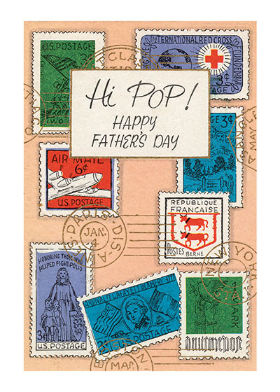 Father's Day Stamps  OUTSIDE GREETING: Hi Pop!  Happy Father's Day  BLANK INSIDE  This reproduction of a mid-century greeting card has a certain rugged masculine chic, and will certainly appeal to any philatelist fathers on their special day.