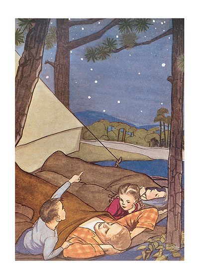 Camping With Dad Father's Day These prints are made at our location in Seattle, WA. They have a thick, white backing board and are sealed in clear bags. Each is suitable for framing at 11 inches x 14 inches or can be used as is for wall display. Our goal is to bring back to life these wonderful illustrations from old-fashioned, children's books and from early advertising art.
