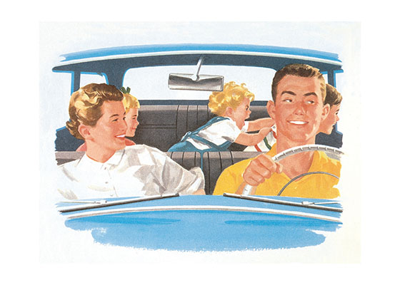 Family in Car c. 1950's  BLANK INSIDE  This cheerful family from the 1950's speaks to a bygone era of big cars, cheap gas, and no thought of seatbelts or booster seats for the children.