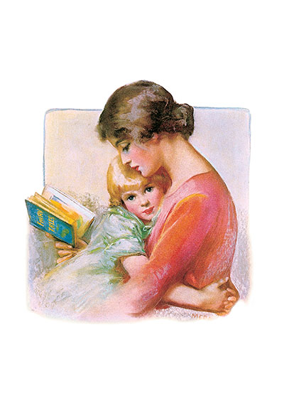 Mother & Child Reading Art Print | Books and Readers Art Prints A fusion of two powerful events: a girl nestles in her mother's arms while being read to from a story book.