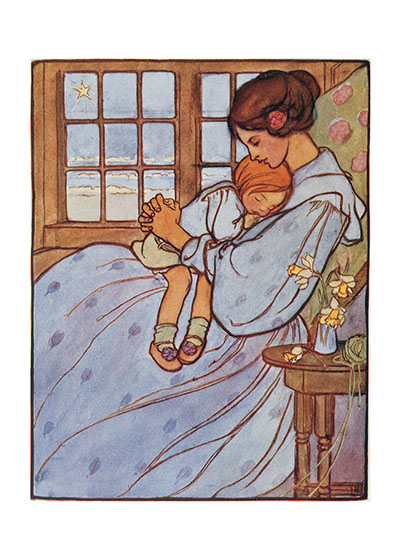 Snuggling With Mama The English illustrator Florence Harrison's tender picture of a girl fallen asleep on her mother's lap.  Our blank notecards are custom printed at our location in Seattle, WA. They come bagged with an envelope. We love illustration art from old children's books and early, printed ephemera. These cards reflect this interest in bringing delightful art back to life.