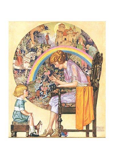 A Mother's Wisdom A magazine illustration by Walter Beach Humphrey showing the world of imagination flowering as a mother tells her child a story.  These prints are made at our location in Seattle, WA. They have a thick, white backing board and are sealed in clear bags. Each is suitable for framing at 11 inches x 14 inches or can be used as is for wall display. Our goal is to bring back to life these wonderful illustrations from old-fashioned, children's books and from early advertising art.