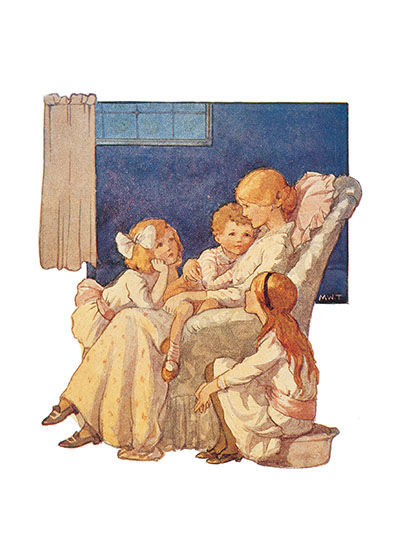 Sitting In the Big Chair With Mama | Family Art Prints A Margaret Tarrant illustration showing a mother telling a story to her rapt children.