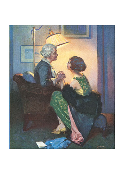 A Conversation By Lamplight A 1930s calendar illustration which shows a powerful moment of emotional communion.  A perfect image to celebrate a loving relationship with an older woman.  These prints are made at our location in Seattle, WA. They have a thick, white backing board and are sealed in clear bags. Each is suitable for framing at 11 inches x 14 inches or can be used as is for wall display. Our goal is to bring back to life these wonderful illustrations from old-fashioned, children's books and from early advertising art.