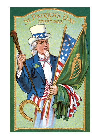 St. Patrick's Day Greetings - Uncle Sam With Flags of Ireland and The United States  BLANK INSIDE  Our blank notecards are custom printed at our location in Seattle, WA. They come bagged with an envelope. We love illustration art from old children's books and early, printed ephemera. These cards reflect this interest in bringing delightful art back to life