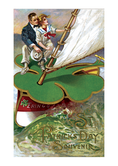 A Couple Sailing Aboard a Shamrock Boat | St. Patrick's Day Greeting Cards