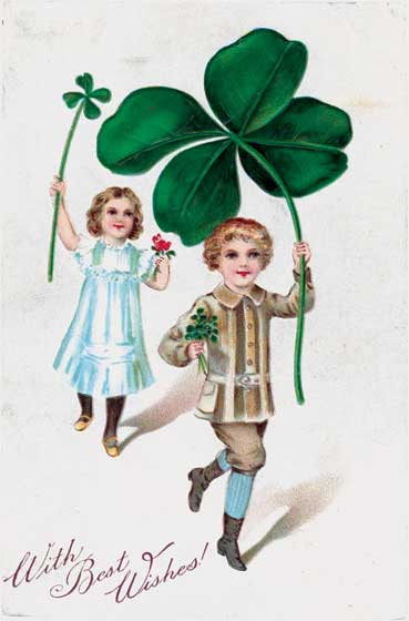 Children Carrying Four Leaf Clovers   OUTSIDE GREETING:  With Best Wishes!  BLANK INSIDE  This image hails from the golden age of the picture postcard, the early 20th century, when as many as a billion postcards were mailed per year. Postcard printers competed to produce cards for every holiday, and St. Patrick's Day was no exception. This particular postcard features children bearing four-leaf clovers.