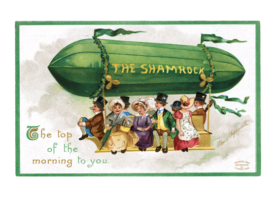 The Shamrock Dirigible Our blank notecards are custom printed at our location in Seattle, WA. They come bagged with an envelope. We love illustration art from old children's books and early, printed ephemera. These cards reflect this interest in bringing delightful art back to life.