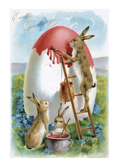 "Rabbit On Ladder Art Print | Easter Art Prints ""These prints are made at our location in Seattle, WA. They have a thick, white backing board and are sealed in clear bags. Each is suitable for framing at 11 inches x 14 inches or can be used as is for wall display. Our goal is to bring back to life these wonderful illustrations from old-fashioned, children's books and from early advertising art."""