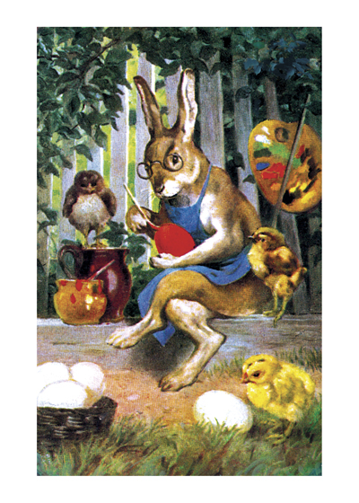 Rabbit Painting Eggs   BLANK INSIDE  This beautiful painting of a spectacled Easter Rabbit concentrating on painting his eggs, surrounded by chicks, comes from an unknown artist. The somber colors make this an unusual, but lovely, Easter greeting card.
