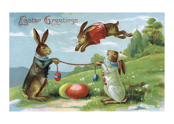 Rabbits Jumping Eggs  OUTSIDE GREETING:  Easter Greetings  BLANK INSIDE  This image hails from the golden age of the picture postcard, the early 20th century, when as many as a billion postcards were mailed per year. Postcard printers competed to produce cards for every holiday, and Easter was no exception. In this beautiful card three rabbits in their finest Easter clothes frolic in a grassy meadow.