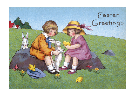 Children With Chick and Rabbit  BLANK INSIDE  Our blank notecards are custom printed at our location in Seattle, WA. They come bagged with an envelope. We love illustration art from old children's books and early, printed ephemera. These cards reflect this interest in bringing delightful art back to life