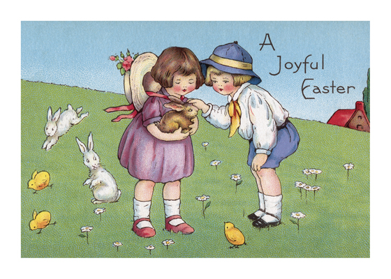 Children With Rabbits  BLANK INSIDE  Our blank notecards are custom printed at our location in Seattle, WA. They come bagged with an envelope. We love illustration art from old children's books and early, printed ephemera. These cards reflect this interest in bringing delightful art back to life