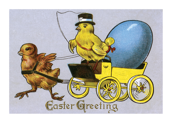 Chicks Driving Easter Carriage  BLANK INSIDE  Our blank notecards are custom printed at our location in Seattle, WA. They come bagged with an envelope. We love illustration art from old children's books and early, printed ephemera. These cards reflect this interest in bringing delightful art back to life