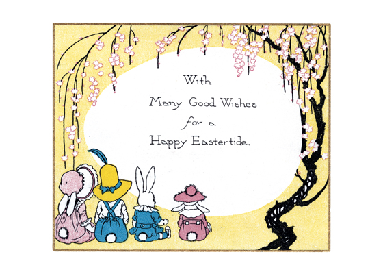 Bunnies Sitting Under Tree Easter  BLANK INSIDE  Our blank notecards are custom printed at our location in Seattle, WA. They come bagged with an envelope. We love illustration art from old children's books and early, printed ephemera. These cards reflect this interest in bringing delightful art back to life