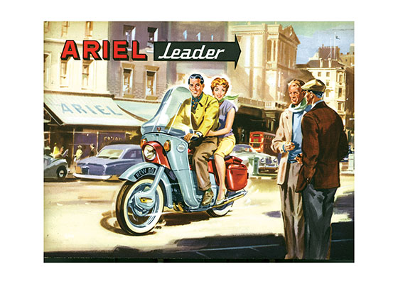 "Ariel Motorcycles | By Land Transportation Art Prints ""These prints are made at our location in Seattle, WA. They have a thick, white backing board and are sealed in clear bags. Each is suitable for framing at 11 inches x 14 inches or can be used as is for wall display. Our goal is to bring back to life these wonderful illustrations from old-fashioned, children's books and from early advertising art."""