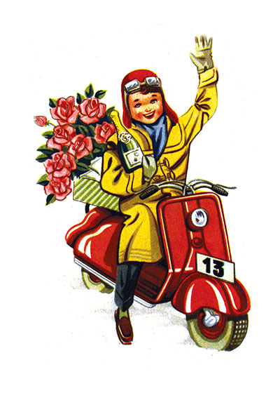 "A Boy Delivering Champagne and Roses | Boys Children Art Prints ""These prints are made at our location in Seattle, WA. They have a thick, white backing board and are sealed in clear bags. Each is suitable for framing at 11 inches x 14 inches or can be used as is for wall display. Our goal is to bring back to life these wonderful illustrations from old-fashioned, children's books and from early advertising art."""