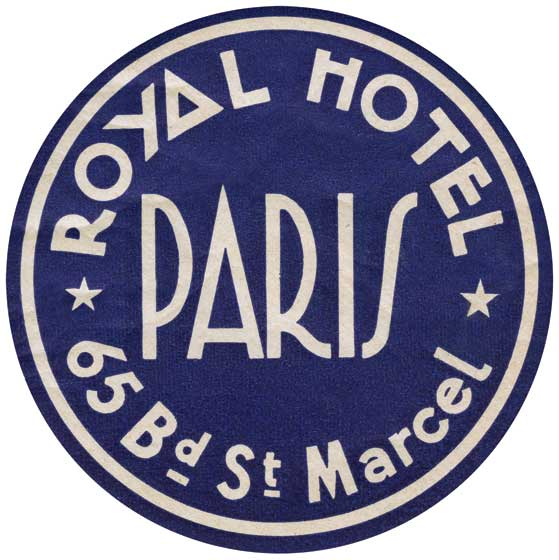 Royal Hotel Paris  BLANK INSIDE  Our blank notecards are custom printed at our location in Seattle, WA. They come bagged with an envelope. We love illustration art from old children's books and early, printed ephemera. These cards reflect this interest in bringing delightful art back to life