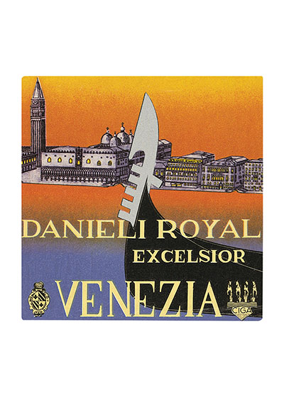 "Danieli Excelsior Venezia | European Glamor Travel Art Prints ""These prints are made at our location in Seattle, WA. They have a thick, white backing board and are sealed in clear bags. Each is suitable for framing at 11 inches x 14 inches or can be used as is for wall display. Our goal is to bring back to life these wonderful illustrations from old-fashioned, children's books and from early advertising art."""