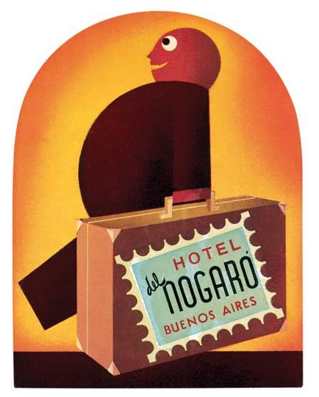 Hotel del Nogaro  BLANK INSIDE  Our blank notecards are custom printed at our location in Seattle, WA. They come bagged with an envelope. We love illustration art from old children's books and early, printed ephemera. These cards reflect this interest in bringing delightful art back to life