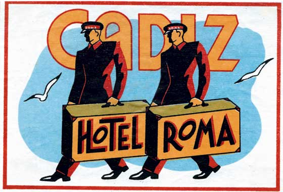 Cadiz Hotel Roma | European Glamor Travel Art Prints These prints are made at our location in Seattle, WA. They have a thick, white backing board and are sealed in clear bags. Each is suitable for framing at 11 inches x 14 inches or can be used as is for wall display. Our goal is to bring back to life these wonderful illustrations from old-fashioned, children's books and from early advertising art.