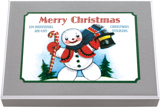 Merry Christmas Sticker Box 24 Sheets, 124 individual stickers die cut vintage labels in a box - featuring classic vintage Christmas imagery.  This set of Christmas stickers, in a variety of shapes and sizes, is all you will need to label all of your Christmas gifts accurately and attractively.  Made in America with high quality paper, envelopes and packaged in a deluxe, keepsake box.