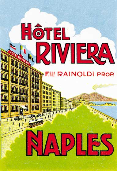 Hotel Riviera Naples | European Glamor Travel Art Prints These prints are made at our location in Seattle, WA. They have a thick, white backing board and are sealed in clear bags. Each is suitable for framing at 11 inches x 14 inches or can be used as is for wall display. Our goal is to bring back to life these wonderful illustrations from old-fashioned, children's books and from early advertising art.