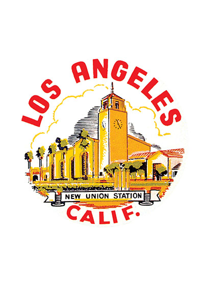 Union Station L.A  BLANK INSIDE  Our blank notecards are custom printed at our location in Seattle, WA. They come bagged with an envelope. We love illustration art from old children's books and early, printed ephemera. These cards reflect this interest in bringing delightful art back to life